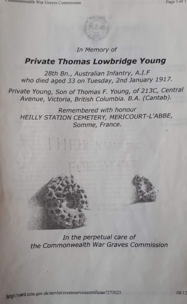 In Memory of Private Thomas Lowbridge Young.