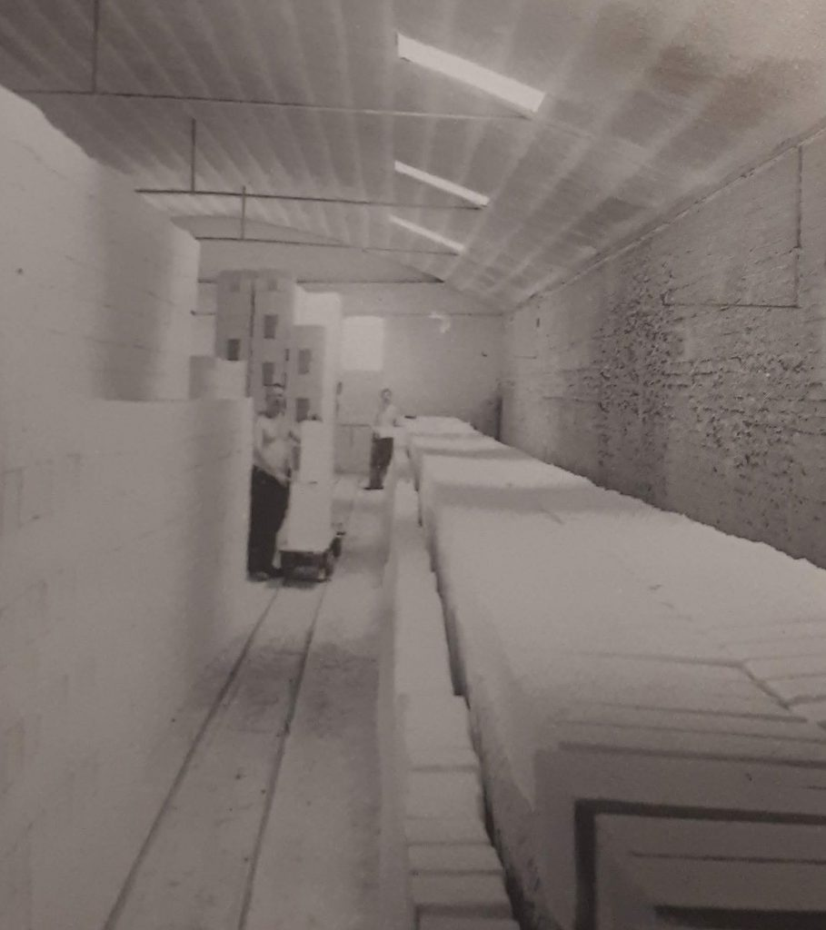 Covercroft Works. A section of dryer room in 1900. The temperature was kept at 300 degrees F. The salt was only kept for 12 hours.